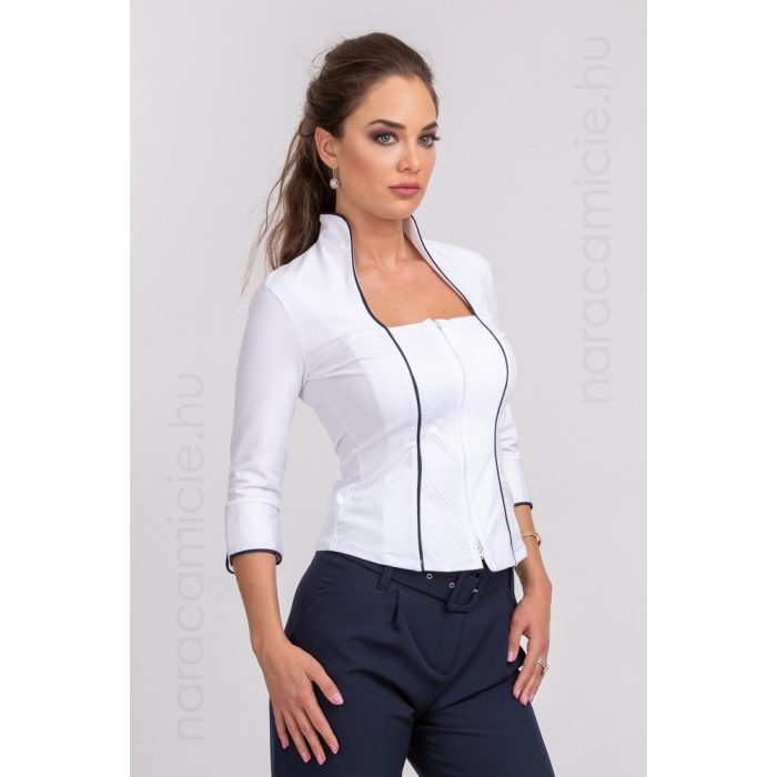 Stand-up collar blouse with zip F07960 T0017 B01 36/S/I