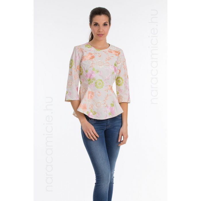 Embroidered blouse with peplum F08226 T6369 F01 40/L/III