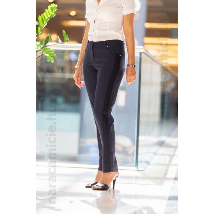 Dark blue pants with lace on sides F2717 NOE 89 44/M
