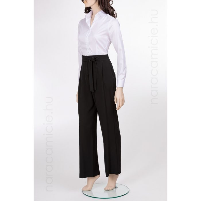 Wide-line high-waisted black trousers with belt F2773 CHI 99