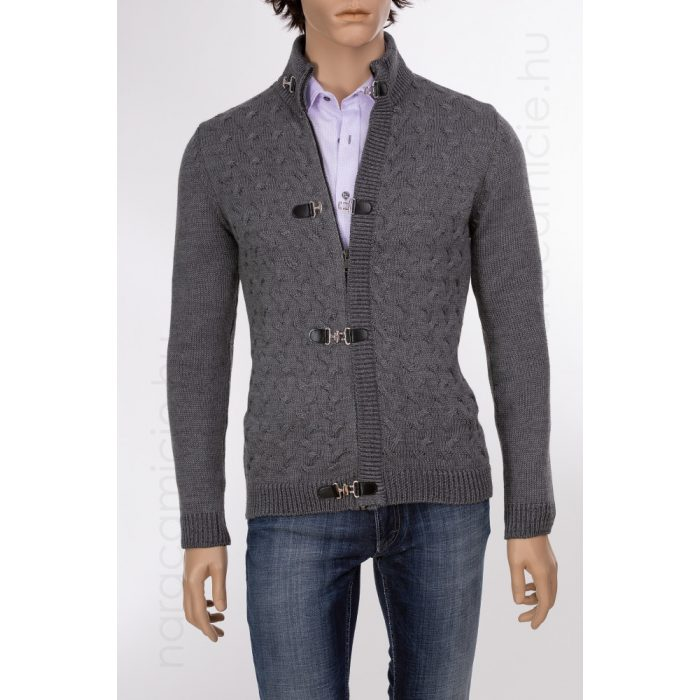 Grey cardigan with zip and buckle HG0665 MA740 G03